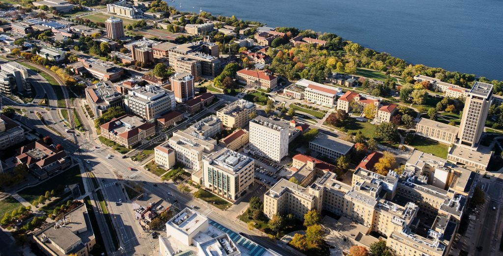 Aerial view of UW campus including the medical sciences center which hosts the UW-Madison Institute on Aging