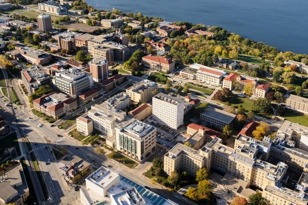 Aerial view of UW campus including the medical sciences center
