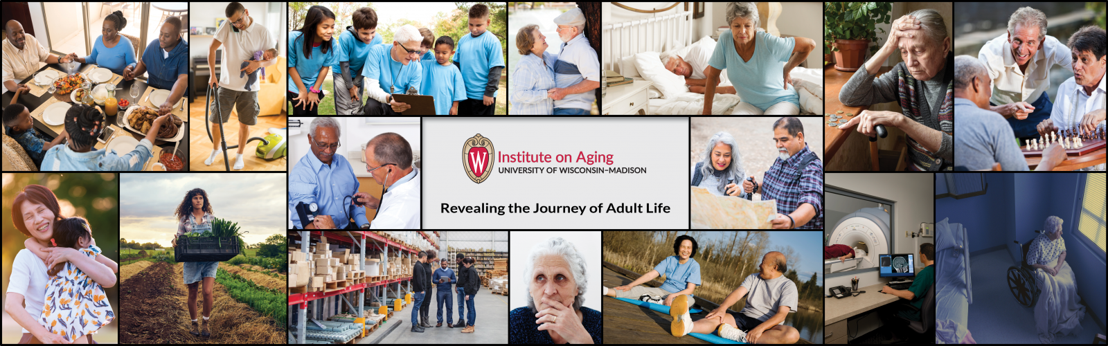 Collage of images revealing the journey of adult life including volunteering, gathering with friends, loneliness, work, doctor visits, play, exercise.